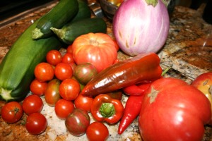 Raw ingredients for eggplant parmesan